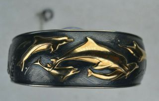 Vintage Kabana Sterling Silver And 14k Dolphin Cuff Bracelet 41.  4 Grams