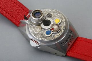Steineck A - B - C Spy watch camera,  Red Strap,  Film,  Certificate,  Display Box,  RARE SET 9