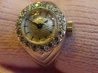Rare 18k White Gold Patek Philippe Diamond Ring Watch Cal 13.  5 - 320 Movement