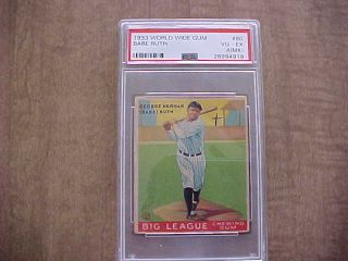 Rare 1933 Goudey World Wide Gum V353 Babe Ruth Card (hof) Psa 4 Vg - Ex (mk)