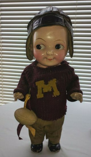 Vintage Buddy Lee Doll,  Football Player Or Fan,  M On Sweater Front,  7 On Back