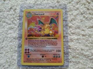 Pokemon Charizard Base Set 1st Edition Rare Holo Shadowless Unplayed 4/102