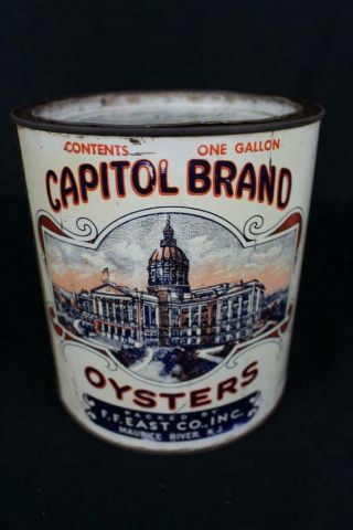 Rare 1 Gallon Capitol Brand Ff East Co Maurice River Nj Oyster Tin Litho Can