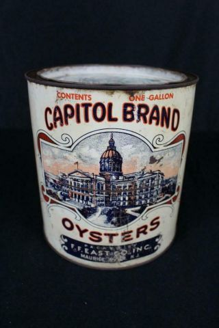 RARE 1 GALLON CAPITOL BRAND FF EAST CO MAURICE RIVER NJ OYSTER TIN LITHO CAN 2