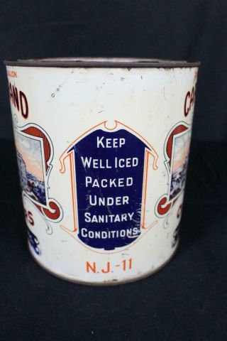 RARE 1 GALLON CAPITOL BRAND FF EAST CO MAURICE RIVER NJ OYSTER TIN LITHO CAN 3