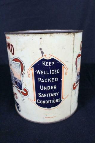 RARE 1 GALLON CAPITOL BRAND FF EAST CO MAURICE RIVER NJ OYSTER TIN LITHO CAN 4