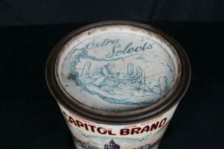 RARE 1 GALLON CAPITOL BRAND FF EAST CO MAURICE RIVER NJ OYSTER TIN LITHO CAN 5