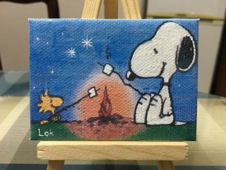 Aceo Hand Painting Oil Painting On Canvas - Snoopy By Chi Lok