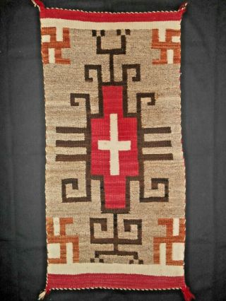 Antique Navajo Navaho Indian Rug.  Crystal Area.  Whirling Logs/cross/hooks.  Nr