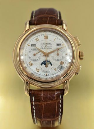 Rare 18k Rose Gold Zenith El Primero Chronomaster Moon Phase Wristwatch