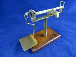 Unusual Antique Victorian Postal Balance,  Steelyard Type Weighs Up To 16 Oz