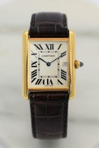 Rare 18k Cartier Tank Louis Wristwatch Ref 2441 With 18k Deployment Clasp