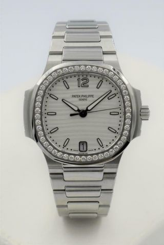 Rare Ladies Steel Diamond Patek Philippe Nautilus Wristwatch Ref 7018/1A - 001 2
