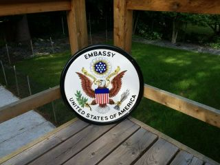 Rare United States Embassy Porcelain Sign Very.