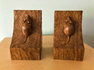 Collectable & Rare Robert Thompson Mouseman Wooden Bookends Mouse Figure