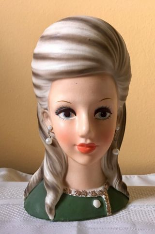 "8 3/4"" Enesco Rare ""high Teen"" Head Vase In"
