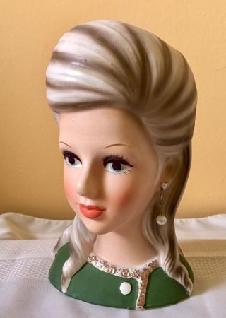 "8 3/4"" Enesco Rare ""High Teen"" Head Vase In 9"