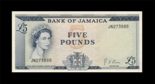 1960 British Colony Jamaica 5 Pounds Qeii Xx - Rare ( (gem Unc))