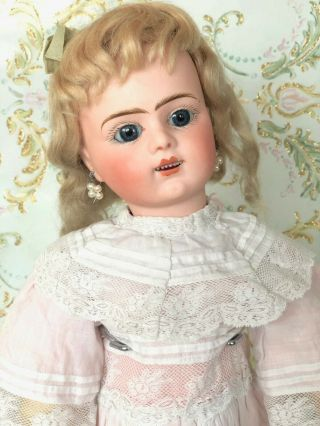 Gorgeous Antique French Bisque Head Bru Jne R 6 Doll Lace Dress Org.  Mohair Wig