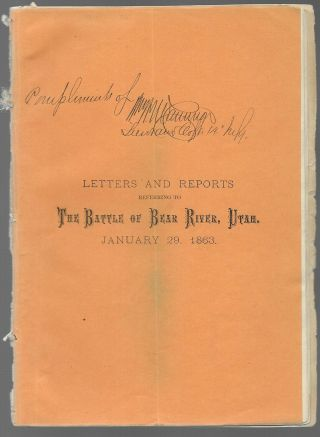 Rare 1863 Printed Report On The Bear River Massacre - Utah - (mormon)