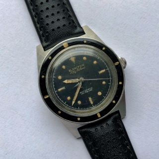 Rare Vintage Blancpain Fifty Fathoms Rotomatic Diver Watch 34mm Gilt Dial
