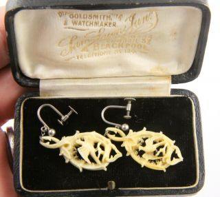 Antique Victorian Edwardian C 1900 Silver Boxed Carved Bird Design Earrings