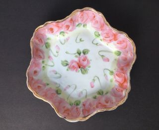 "Antique Nippon Hand Painted Candy Dish Or Dresser/vanity Dish 7 - 5/8 "" Pink Roses"