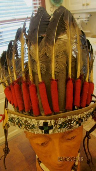 Native American Indian Headdress War Bonnet W/beadwork Vintage Authentic