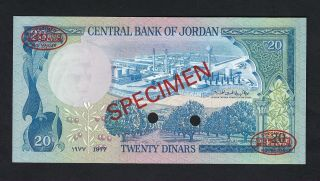 Jordan 20 Dinars ND (1977 - 85) P22as Specimen TDLR Uncirculated Rare 2
