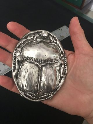 Sterling Silver Scarab Belt Buckle Large Heavy Custom Cz One Of A Kind