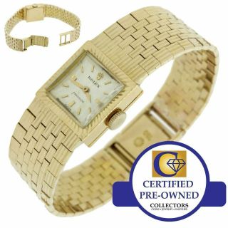 Ladies 1960s Vintage Rolex Precision Solid 18k Yellow Gold Square Watch 2157