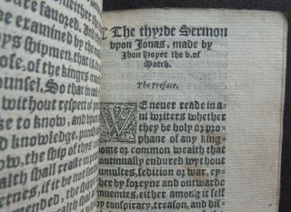 Rare HOOPER 1550 SERMONS JONAH Religion PROTESTANT MARTYR Carved Wood BINDING 11
