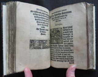 Rare HOOPER 1550 SERMONS JONAH Religion PROTESTANT MARTYR Carved Wood BINDING 5
