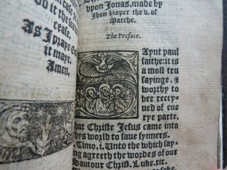 Rare HOOPER 1550 SERMONS JONAH Religion PROTESTANT MARTYR Carved Wood BINDING 8