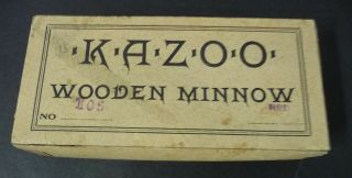 C.  1910 Red Kazoo Wooden Minnow Rhodes Shakespeare 105 Box Nearmint