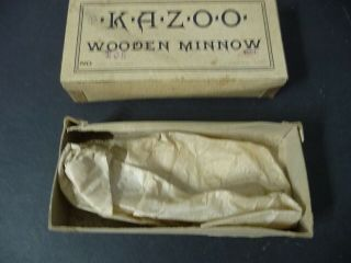 c.  1910 Red KAZOO Wooden Minnow Rhodes Shakespeare 105 Box NearMint 4