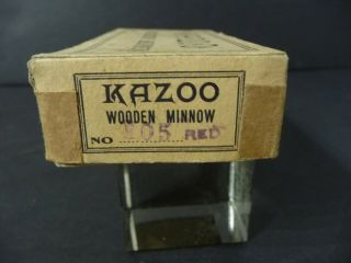 c.  1910 Red KAZOO Wooden Minnow Rhodes Shakespeare 105 Box NearMint 6