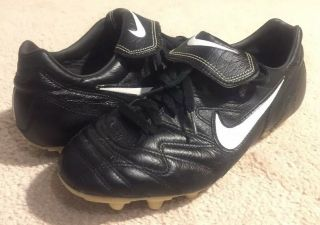Nike Tiempo 1000 Black / White Soccer Cleats Rare Leather Vintage Men