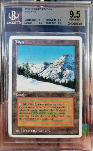 Vintage Mtg Bgs 9.  5 Summer Magic Taiga,  Old School,  Rare,