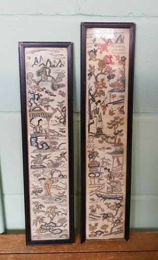 2 Antique Hand Embroidered Japanese Silk Panels B3