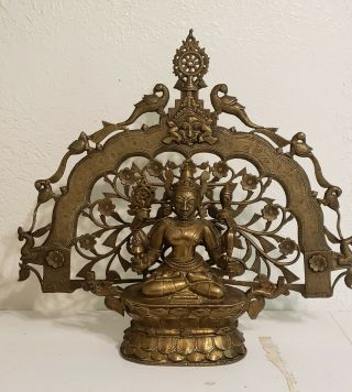 Large Antique Indian/asian Hindu Bronze Vishnu/buddha 18th Century