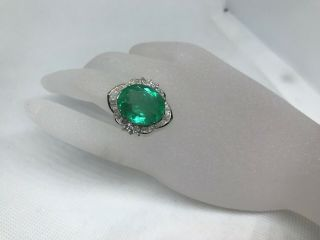 Vintage Certified 13.  58 Ctw Natural Colombian Emerald Diamond 18k Gold Ring