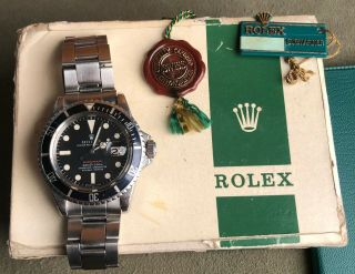 Vintage Rolex RED Submariner 1680 from 1970 Sub Rare PUNCHED PAPERS NR 2