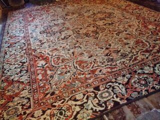 Extra Large Vintage Turkish Persian 100 Wool Rug 11.  2x8.  7ft Retro Keshan Floral