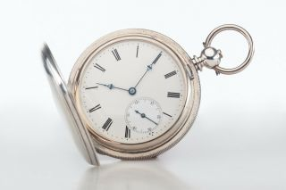 Antique Sterling Silver Patek,  Philippe & Co Pocket Watch