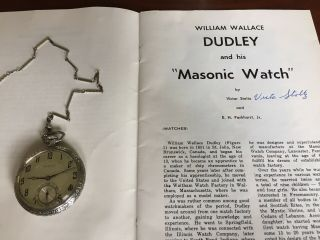 Dudley Watch Model 1 14kt Chain And Book Signed By Author