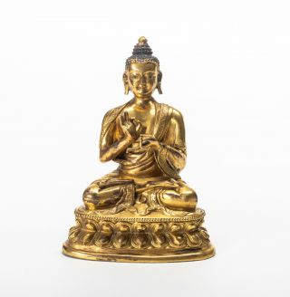 19th Chinese Antique/vintage Gilt Bronze Figure Of Buddha