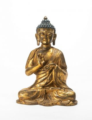 A Large Chinese Antique/vintage Gilt Bronze Figure Of Buddha