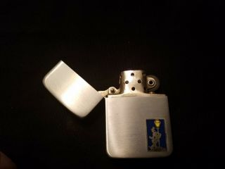 Zippo Lighter Brushed Chrome Pre1946 Man Under Street Light Never Struck Vintage 3