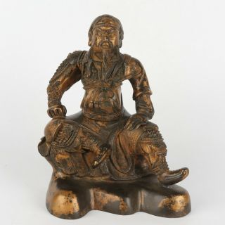 Antique Chinese Gilt Bronze Of Figure Seated